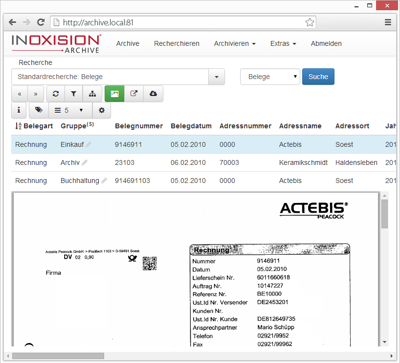 Inoxision webclient